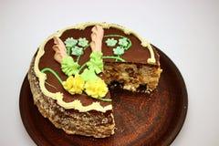 Heerlijk, verfraaid met een roomcake De traditionele Oekra?ense Cake van Kiev royalty-vrije stock foto's