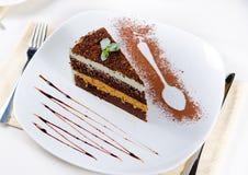 Heerlijk vers gebakken gelaagd dessert stock fotografie