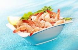 Heerlijk zeevruchtenvoorgerecht van geroosterde garnalen Stock Foto