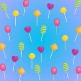 Heerlijk zoet patroon: transparante lollys op een blauwe achtergrond met een purpere tint vector illustratie