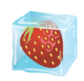 Heerlijke Aardbei in een ijs-kubus Royalty-vrije Stock Afbeelding