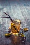 Heerlijke alcoholische cocktail met citroen en kalk, stukken van ijs royalty-vrije stock foto