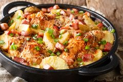 Heerlijke boerderijbraadpan van kippenfilet met aardappels, bacon stock foto's