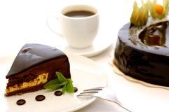 Heerlijke bruine chocoladecake. stock foto