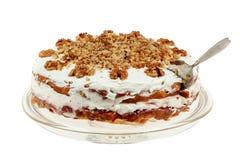 Heerlijke cake met appel en slagroom het vullen Stock Foto's
