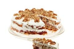 Heerlijke cake met appel en slagroom het vullen Royalty-vrije Stock Foto's