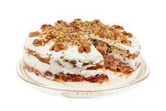 Heerlijke cake met appel en slagroom het vullen Royalty-vrije Stock Afbeelding