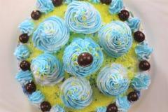 Heerlijke cakeplak op een blauwe en witte plaat met chocoladeballen royalty-vrije stock foto's