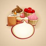 Heerlijke cakesachtergrond Royalty-vrije Stock Afbeeldingen