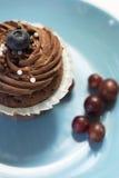 Heerlijke chocolade cupcakes met rijke room en bosbes op Th Stock Foto