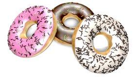 Heerlijke chocolade donuts en room Stock Foto