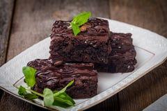 Heerlijke chocoladebrownie Stock Foto's