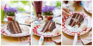 Heerlijke chocoladecake op plaat op lijst aangaande lichte achtergrond Royalty-vrije Stock Foto