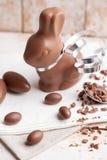 Heerlijke chocoladepaashaas en eieren Royalty-vrije Stock Foto's