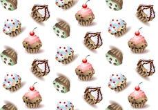 Heerlijke cupcakes en de vector bestrooien geïsoleerde muffinreeks Royalty-vrije Illustratie