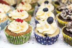 Heerlijke cupcakes met buttercream en vruchten Royalty-vrije Stock Afbeeldingen