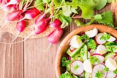 Heerlijke de lente plantaardige salade van komkommer, radijs, ei Stock Foto