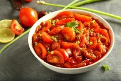 Heerlijke de tomatenkerrie van de veganistschotel in jus stock afbeelding