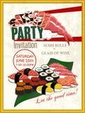 Heerlijke de uitnodigingsaffiche van de sushipartij stock illustratie