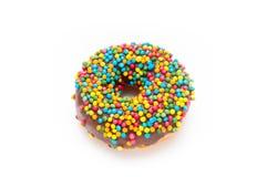 Heerlijke die Doughnut op Witte Achtergrond wordt geïsoleerd Stock Fotografie
