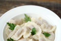 Heerlijke eigengemaakte ravioli met peterselie in een plaat Stock Fotografie