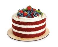 Heerlijke eigengemaakte rode fluweelcake met verse bessen stock foto's