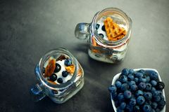 Heerlijke eigengemaakte wafelsnack met bosbessen en yoghurt in metselaarkruik Royalty-vrije Stock Fotografie