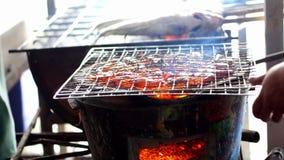 Heerlijke garnaal op grill verse levende zeevruchten, BBQ garnalen stock video