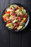 Heerlijke gastronomisch nicoise salade met groenten, eieren, tonijn en royalty-vrije stock fotografie