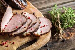 Heerlijke gerookte eigengemaakte gekookte ham stock foto's