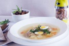 Heerlijke geurige die soep op kwartelsbouillon wordt gebaseerd in een witte het dineren plaat Plakken van vlees, kwartelsei, dill royalty-vrije stock fotografie