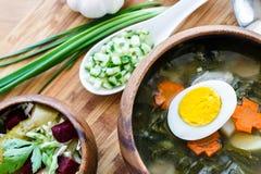 Heerlijke groene soep met zuring op lijstclose-up Royalty-vrije Stock Afbeeldingen