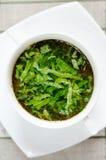 Heerlijke groentesoep met zuring Royalty-vrije Stock Fotografie
