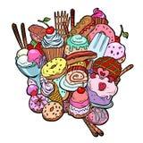 Heerlijke het voedselverjaardag van bakselsnoepjes Isoleer op witte backgrou stock illustratie