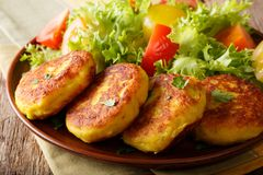 Heerlijke hete aardappelpannekoeken met dicht-u van de verse groentesalade Royalty-vrije Stock Afbeelding