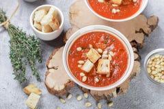 Heerlijke hete of koude tomatensoep met croutons Royalty-vrije Stock Fotografie