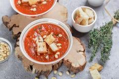 Heerlijke hete of koude tomatensoep met croutons Royalty-vrije Stock Foto