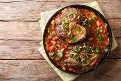 Heerlijke Italiaanse alla Milanese van Ossobuco van het kalfsvleeslapje vlees met gremola royalty-vrije stock fotografie