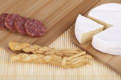 Heerlijke kaas, salamiworst Royalty-vrije Stock Foto