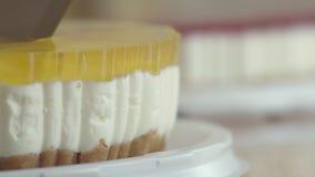Heerlijke kaastaart, besnoeiing in stukken à la carte Heerlijke perzikcake met slagroom Dessert voor thee, wordt behandeld die me stock video