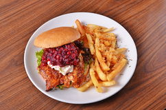 Heerlijke kippenhamburger stock foto's