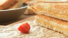 Heerlijke lunch - geroosterde sandwiches stock video