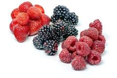 Heerlijke mengeling van de zomer rijpe vruchten zoals de aardbeienkersen van braambessenabrikozen en frambozen op wit met exempla stock afbeeldingen
