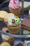 Heerlijke minicupcake met groen suikerglazuur Stock Afbeeldingen