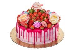 Heerlijke multi-colored verjaardagscake Met heemst royalty-vrije stock foto's