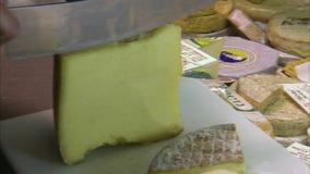 Heerlijke oude dun gesneden kaas stock video