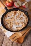 Heerlijke pannekoek met appelen en kaneel in een panclose-up Ve Royalty-vrije Stock Foto's