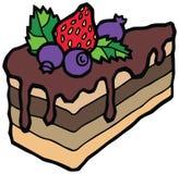 Heerlijke plak van cake met chocolade Stock Fotografie
