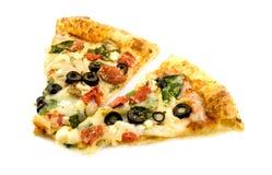 Heerlijke plantaardige pizza stock afbeelding