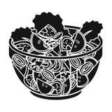 Heerlijke plantaardige salade Vegetarisch voedsel enig pictogram in het zwarte Web van de de voorraadillustratie van het stijl ve Stock Afbeeldingen